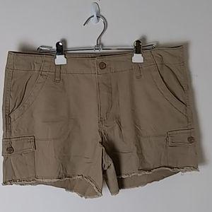 Khaki Shorts, Frayed Hemline, 6-Pocket, Size 16